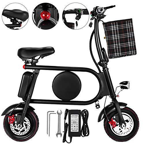 Happybuy Electric Bike 20 Mile Range Mini Electric Bike 15-21mph Folding Electric E-Bike 400W 36V with Lightweight Collapsible Frame (Black) - Mini Folding Bicycle
