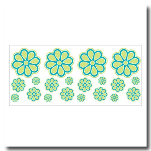 - Cosmo Girl Flirt Blue Green Retro Flower Wall Stickers