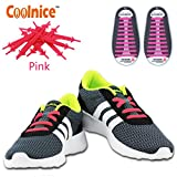 No Tie Elastic Shoelaces by Coolnice®, Silicone Shoe Lace Lock Bands for Kids or Adults 20 Pc DIY for sneakers, boots, running, triathalon- Color of Pink