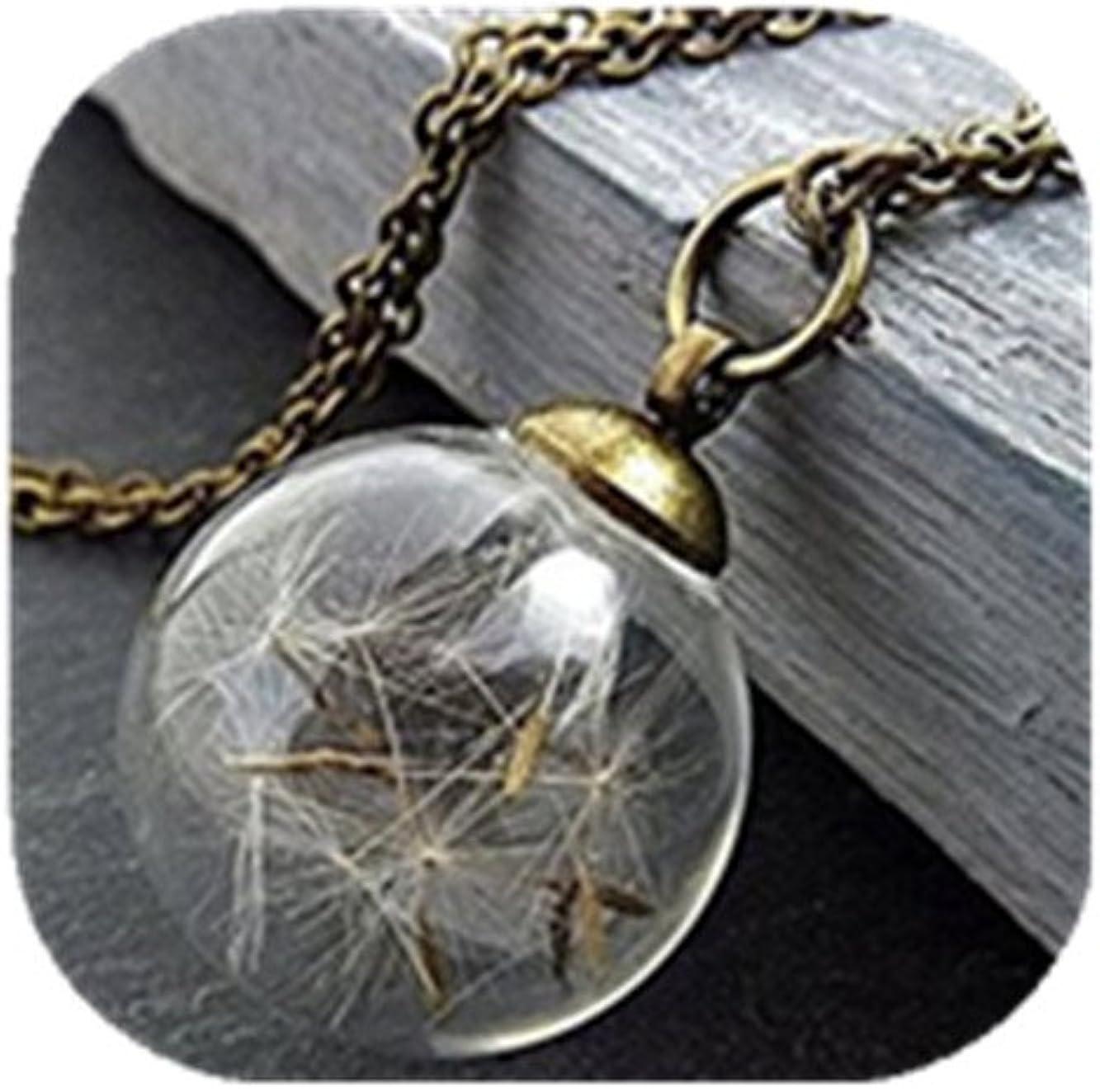 Diente De León Collar, semillas de diente real en globo de cristal ...
