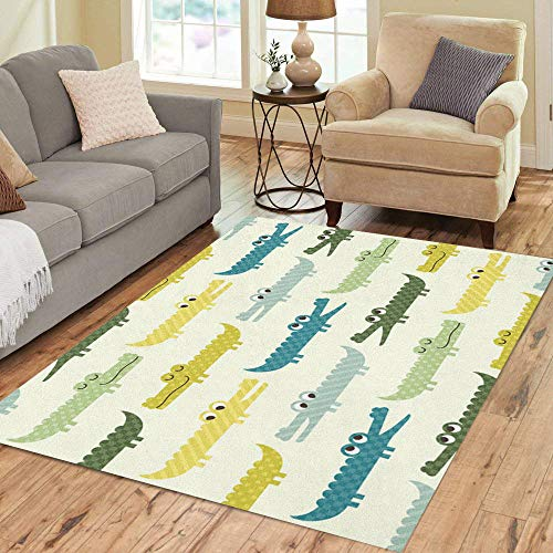 Pinbeam Area Rug Blue Boy Crocodile Cartoon Pattern Colorful Baby Alligator Home Decor Floor Rug 5' x 7' Carpet