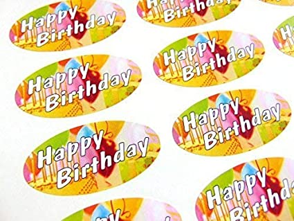 Pack de 48 Feliz Cumpleaños Juntas, 40x20mm Ovalado Sello ...