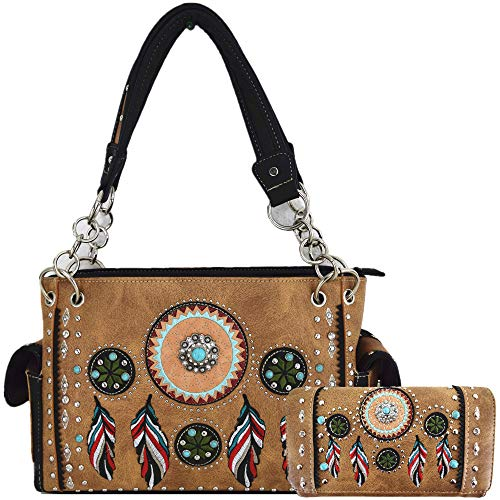 Native Tribal Feather Conchos Concealed Carry Purse Rhinestone Tote Handbag Women Shoulder Bag Wallet Set (Tan -