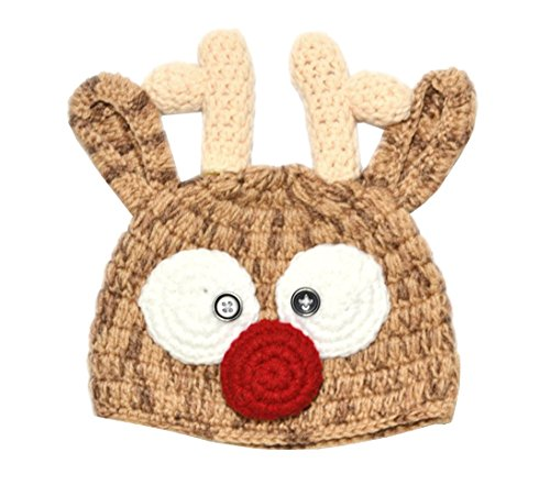 [Rush Dance Christmas Crochet Baby Santa's Reindeer Beanie Photo Prop Costume Hat] (Infant Santa Costumes)