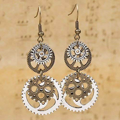 suchadaluckyshop Well New Steampunk Earrings Antique Bronze Gears Jewelry Gorgeous Silver Plated