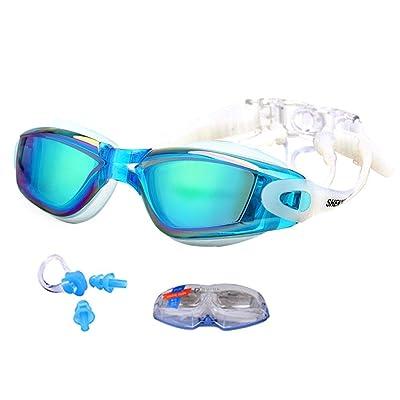 Aolvo Lunettes de natation, [des] étanche anti-buée UV Protect HD de natation Lunettes de natation avec bouchons d'oreille et nez Clips