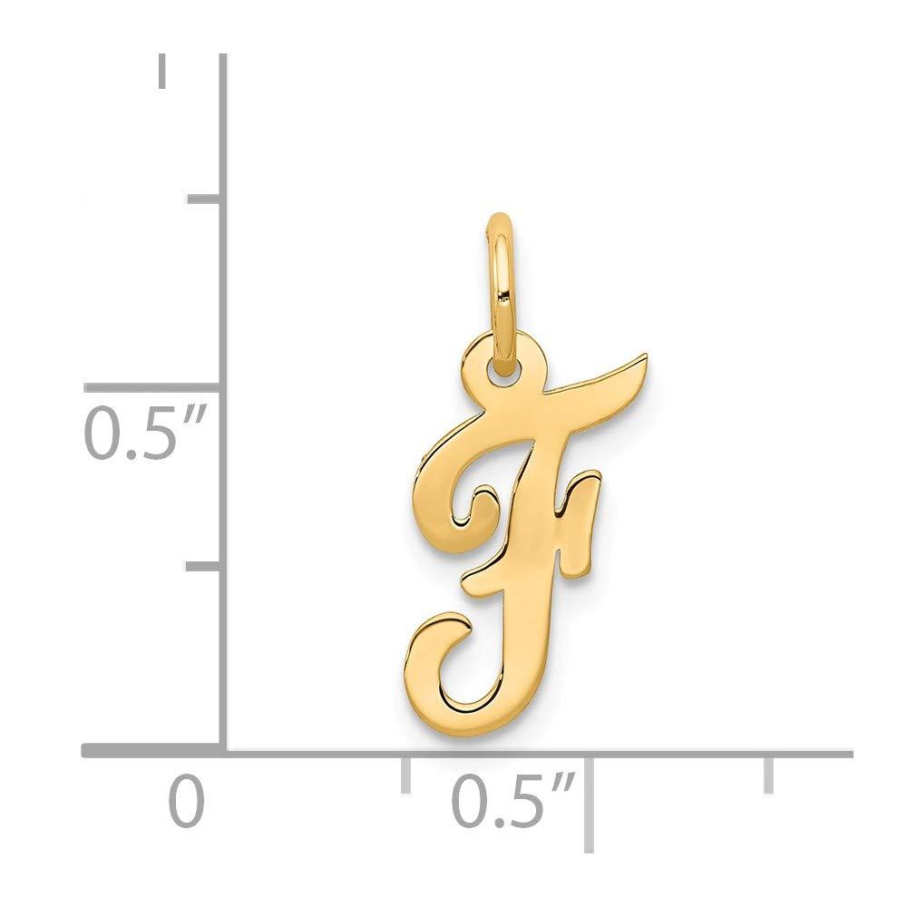 14k Yellow Gold Small Script Initial F Charm Million Charms MCQGYC658F