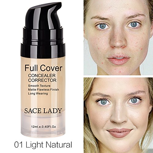 Pro Full Cover Liquid Concealer, Waterproof Smooth Matte Flawless Finish Creamy Concealer Foundation for Eye Dark Circles Spot Face Concealer Makeup, Size:6ml/0.20Fl Oz (01.Light Natural 12ml)