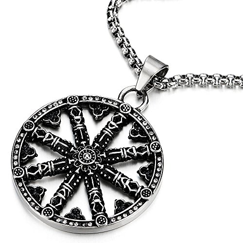 COOLSTEELANDBEYOND Mens Large Steel Dharma Chakra Pendant Dharma Wheel of Law Symbol Necklace with 30 in Chain (Hades Symbol Necklace)