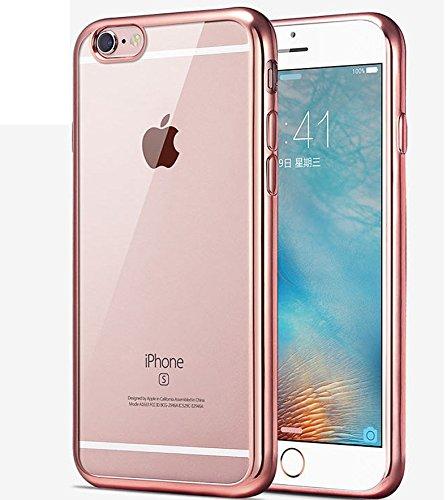 iPhone 8 Case,iPhone 7 Case,iPhone 8 TPU Case,ikasus [Electroplate Bumper] Flexible Soft Rubber Clear TPU Transparent Skin Scratch-Proof [Rose Gold] Plating Frame Silicone Bumper Case for iPhone 8 / - Transparent Rose