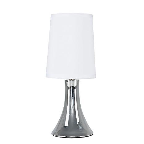 MiniSun – Lámpara de mesa moderna y táctil Trumpet - Cromada con pantalla de tela blanca
