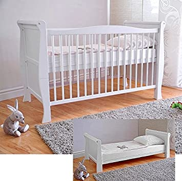 Baby Cots Uk Free uk delivery white solid wood baby cot bed deluxe foam free uk delivery white solid wood baby cot bed deluxe foam mattress converts into sisterspd