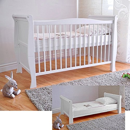 Free UK Delivery  White Solid Wood Baby Cot Bed & Deluxe Foam Mattress...