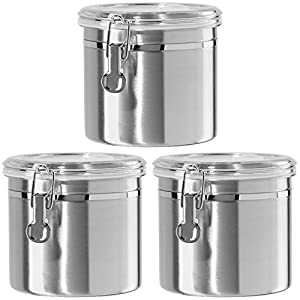 3 Piece 47 ounce 5  X 6.25  Stainless Steel Airtight Storage Canister with Cl& Set Oggi  sc 1 st  Amazon.com & Amazon.com - 3 Piece 47 ounce 5
