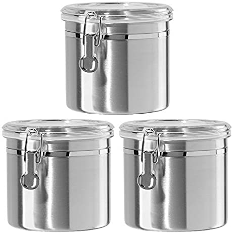 3 Piece 47 ounce 5u0026quot; X 6.25u0026quot; Stainless Steel Airtight Storage Canister with Cl&  sc 1 st  Amazon.com & Amazon.com - 3 Piece 47 ounce 5