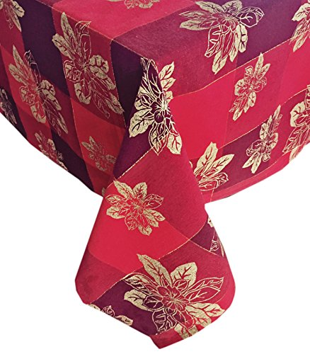 Trends Collection Christmas Golden Poinsettia Red and Gold Cotton Weave Holiday Tablecloth, 70