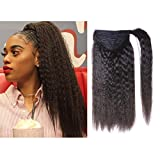 LacerHair Kinky Yaki Straight Ponytail Remy Human Hair Extension Wrap Around Coarse Curly Top Closure Clip Ins 100g/Piece Natural Black for Black Women 10-22 inch (22 inch, Kinky Straight #1B)