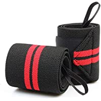 A Pair of Adjustable Sports Wrist Wraps Support Band,Compression Wrist Brace Straps Effective For Carpal Tunnel, Weight Lifting, Boxing, Gymnastics, Typing and Wrist Guard, Red