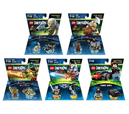 (Excalibur Batman + Knight Rider + The Legend Of Chima Cragger + The Lord Of The Rings Gimli & Gollum Fun Packs - LEGO Dimensions - Not Machine Specific)