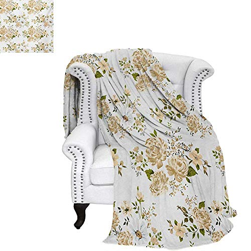 warmfamily Flowers Summer Quilt Comforter Gardening Theme Floral Design Vector Illustration of Roses Botany Inspired Digital Printing Blanket 60