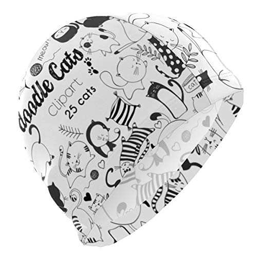 ATZUCL Swim Cap Bathing Cap for Men Boys Unisex Clipart Cats Doodle Black and White Swimming Hat