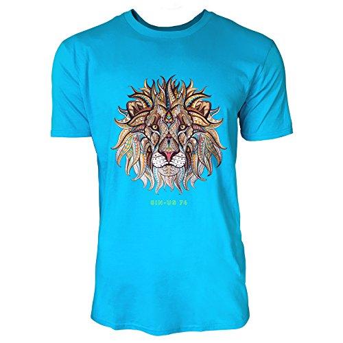 SINUS ART® Löwenkopf mit orientalischem Muster Herren T-Shirts in Karibik blau Cooles Fun Shirt mit tollen Aufdruck
