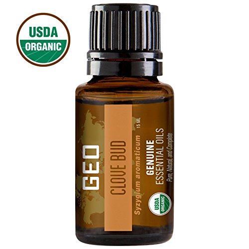 CLOVE BUD Organic Essential Oil | Temporary solution for Tooth & Gum Pain | Antibacterial, Antiviral, Antiparasitic | 15 ml | USDA Organic. Certified by CCOF | Sold by GEO Oils.