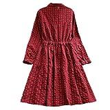 AMSKY Dress Shirts for Women,Women's Casual Plaid Tunic Button Down Long Sleeve Shirt Dress,Formal,Red,XXL