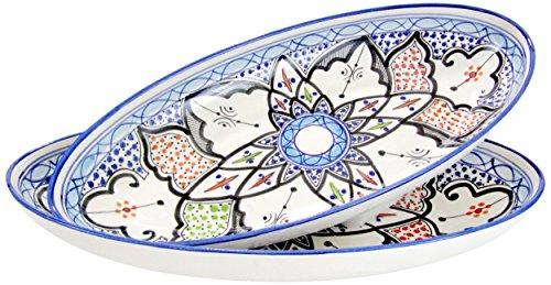 Le Souk Ceramique TIB13 Stoneware Large Oval Platters, Set of 2, Tibarine