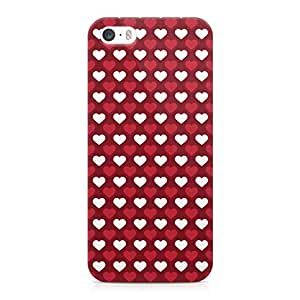 Loud Universe Valentines Day Couples Love Heart Pattern Sleek Scratch Resistant Wrap Around iPhone SE Case - Red