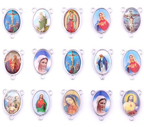 30pcs Mix Picture Cross Jesus Enamel Our Lady Miraculous Medal Floral Rosary Centerpiece Alloy Crucifix Cross Pendants Charms -