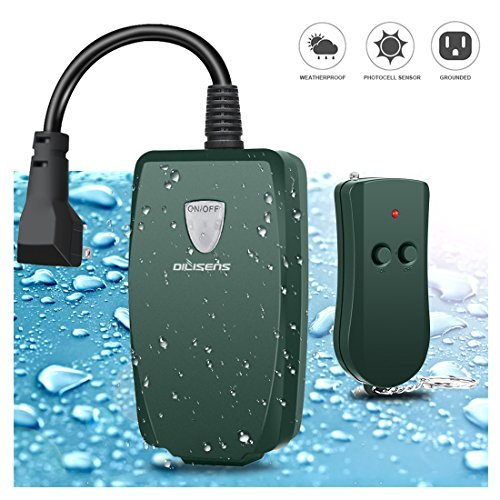 DILISENS Remote Control Outlet Outdoor Switch Wireless Outlet Socket Switch with Photocell Sensor, Weatherproof, 100 Feet Range, Great for Household Appliances- Army Green (1 Pack)
