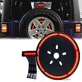 Xprite Jeep Wrangler 14'' Spare Tire Brake Light & 3rd Third Brake Light w/Smoke Lens LED Tail Lamps for 2007-2018 Jeep Wrangler & Wrangler Unlimited JK
