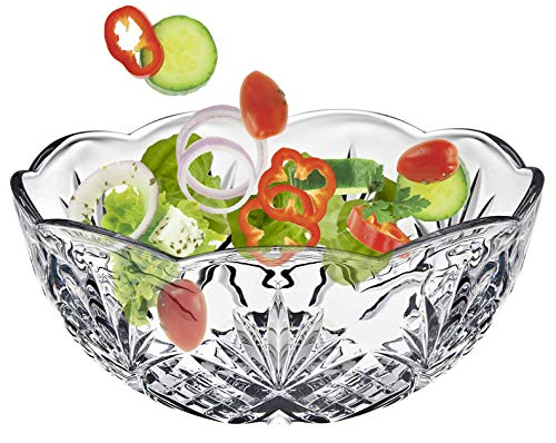 - Elegant Large Crystal Clear Salad Bowl, Glass Mixing Bowl, All Purpose Round Serving Bowl