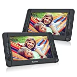 """NAVISKAUTO 10.1"""" Portable DVD Player Dual Screen Car Headrest, 5 Hours Rechargeable Battery, Last Memory, Remote Control(10 inch Dual Screen)"""