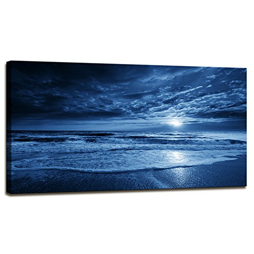 - Canvas Print Wall Art Blue ocean moon rising illustration Painting For Living Room Decor And Painting Wall Art Decor 20