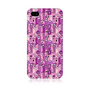 Purple Doodled Up Germ Design Back Case Cover For Apple iPhone 4 4S