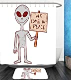 Beshowereb Bath Suit: Showercurtain Bathrug Bathtowel Handtowel Outer Space Decor Martian Creature with Peace Phrase Solar Revolution on Galaxy Print Image Grey Red