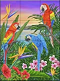 Ceramic Tile Mural - Parrot Trio- by Mary Lou Troutman - Kitchen backsplash / Bathroom shower