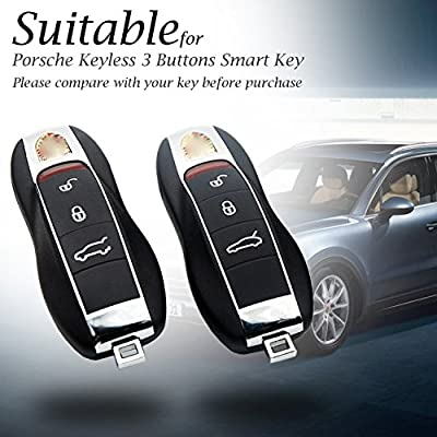 Vitodeco Genuine Leather Keyless Entry Remote Control Smart Key Case Cover with Leather Key Chain for Porsche Panamera, Macan, Cayenne, 911 (3 Buttons, Red): Automotive