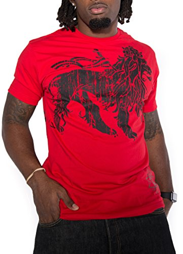 Rasta Vintage Graphic Short Sleeve Casual T-Shirt Reggae Inspired Jamaican Tops (Red 1, Small) 1 Vintage Inspired Tee