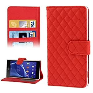 Plaid Texture Leather Case with Credit Card Slot & Holder for Sony Xperia Z2 / L50w (Red)