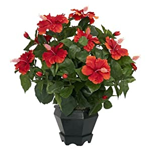 Nearly Natural 6691 Hibiscus with Black Hexagon Vase Decorative Silk Plant, Orange 98