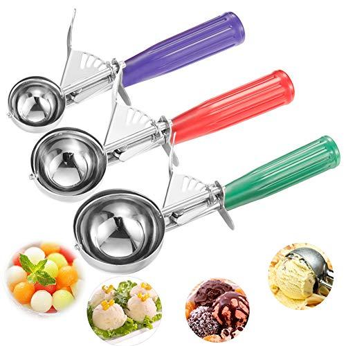 Ice Cream Scoops, Cookie Scoop Set of 3, Cake Trigger Cookie Scoop Set Stainless Steel Spoon Scoopers Gift for Kids & Families - Elegant Gift Package