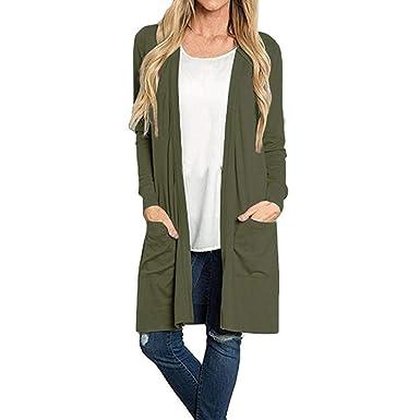 4735342afb0 Sixcup Women s Long Sleeve Open Front Loose Pocket Causal Lightweight Kimono  Cardigan Ladies Autumn Jacket Coat