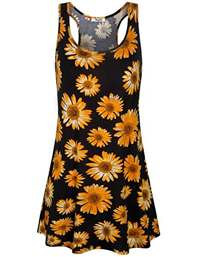 ess, Women's Black Floral Print Casual Wear Flowy Racerback Tank Hawaiian Beach Dresses Sleeveless Summer Swing Floating Loose Fit Sundresses M (Womens Knit Beach Dress)