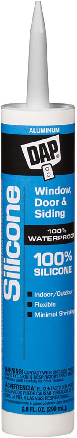 DAP 08643 9.8-Ounce 100% Silicone Window, Door and Siding Sealant, Aluminum