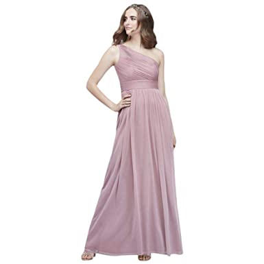 8ca51e5f1df David s Bridal Micro-Pleated Mesh One-Shoulder Bridesmaid Dress Style  W60042