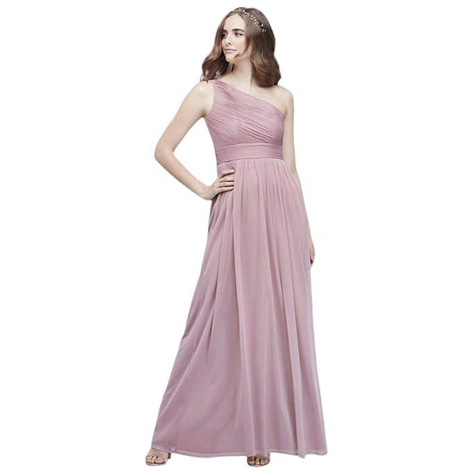 David S Bridal Micro Pleated Mesh One Shoulder Bridesmaid Dress Style W60042