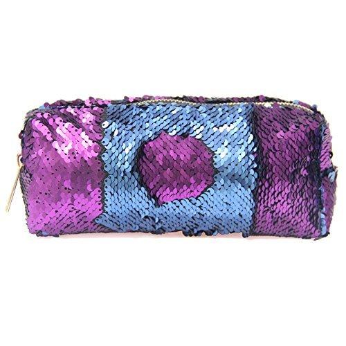 ICOSY Sequin Pencil Pouch Mermaid Makeup Pouch Bags Magic Reversible Sequin Pencil Case Sequin Handbag Glitter Pencil Case Makeup Bags for Girls Women